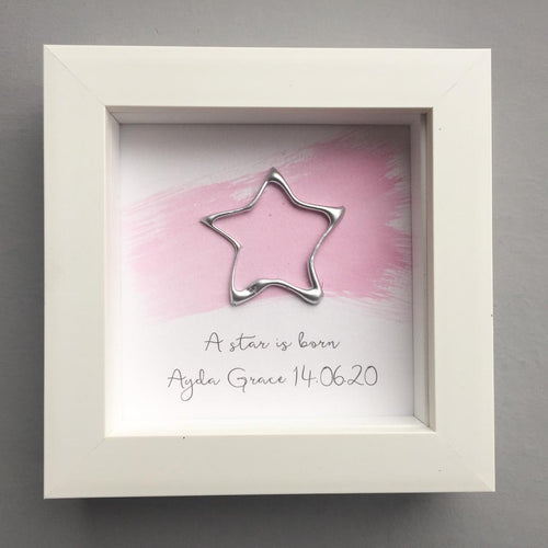 Personalised 'A star is born'. Pink watercolour with Silver star