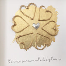 Load image into Gallery viewer, 'You're surrounded by love' Sunflower, Box Frame Personalised Art (Gold) www.withcerys.co.uk Unique 3D Wall Art Gifts
