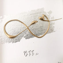 Load image into Gallery viewer, 'BFF' Infinity Symbol, 3D Box Frame Personalised Print (Gold) www.withcerys.co.uk