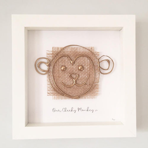 'Our Cheeky Monkey' 3D Box Frame Personalised Art (Gold)