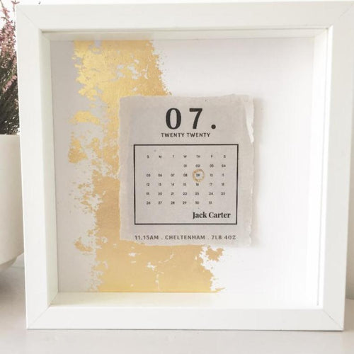 Newborn Date Calendar 3D Box Frame Personalised Word Art (Gold) www.withcerys.co.uk Unique Gifts Of Art