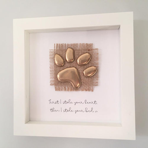 'First I stole your heart, then I stole your bed' Paws, 3D Box Frame Personalised Art (Gold) www.withcerys.co.uk Unique Gifts Of Art