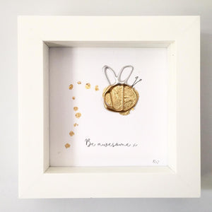 'Be awesome' Bumble Bee 3D Box Frame Personalised Print www.withcerys.co.uk Personalised Wall Art Gifts