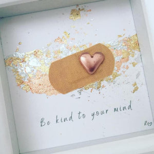 'Be kind to your mind' Positive Plaster, 3D Box Frame Personalised Art (Rose Gold) www.withcerys.co.uk Unique Gifts Of Art