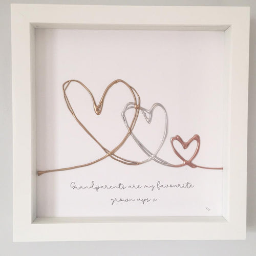 'Grandparents are my favourite grown ups' Takes a village to raise a child, Box Frame Personalised Art (Gold, Rose Gold, Silver) www.withcerys.co.uk Unique 3D Wall Art Gifts