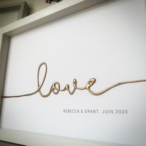 Love Gold Personalised Medium Framed Art withcerys