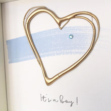 Load image into Gallery viewer, 'It's a boy' New Baby, 3D Box Frame Personalised Art (Blue & Gold)