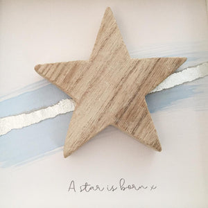 'A star is born' Natural Star, Box Frame Personalised Art (Blue & Silver) www.withcerys.co.uk Unique 3D Wall Art Gifts