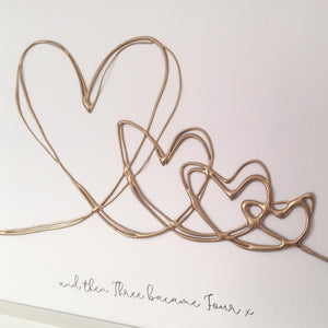 '... and three became four' Family Heart Portrait, 3D Box Frame Personalised Art (Gold) www.withcerys.co.uk
