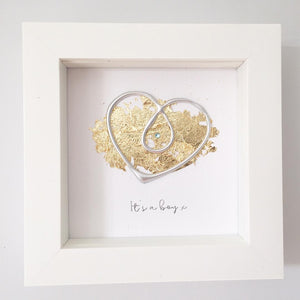 'It's a boy' Pregnancy Heart, Box Frame Personalised Art (Silver) www.withcerys.co.uk Unique Wall Art Gifts