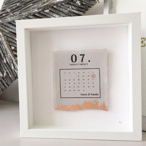 Marriage Date Calendar Box Frame Personalised Word Art (Rose Gold)