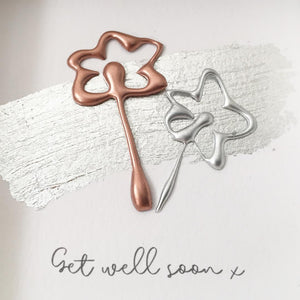 'Get well soon' Flowers 3D Box Frame Personalised Print (Rose Gold & Silver) www.withcerys.co.uk Unique Wall Art Gifts