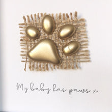 Load image into Gallery viewer, 'My baby has paws' Paws, Box Frame Personalised Art (Gold) www.withcerys.co.uk Unique 3D Gifts Of Art