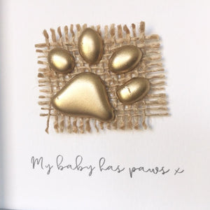 'My baby has paws' Paws, Box Frame Personalised Art (Gold) www.withcerys.co.uk Unique 3D Gifts Of Art
