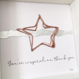'You've inspired me, thank you' Superstar, 3D Box Frame Personalised Art (Rose Gold) www.withcerys.co.uk Unique 3D Wall Art Gifts