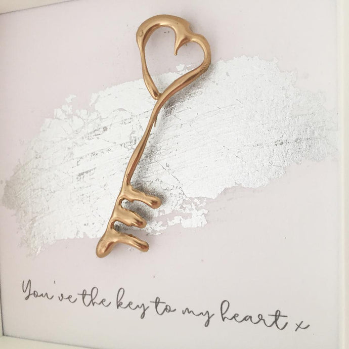 'You've the key to my heart' Key, 3D Box Frame Personalised Print (Gold) www.withcerys.co.uk Unique gifts of art