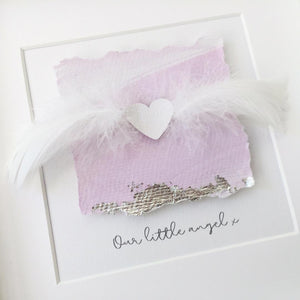 'Our little angel' Remembrance Heart, 3D Box Frame Personalised Art (Pink & Silver) www.withcerys.co.uk