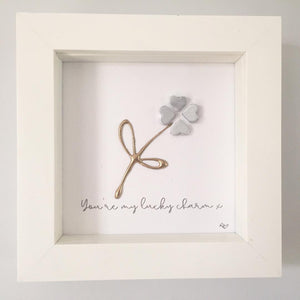 'You're my lucky charm' Four Leaf Clover, Lucky Charm, 3D Box Frame Personalised Art (Silver) www.withcerys.co.uk