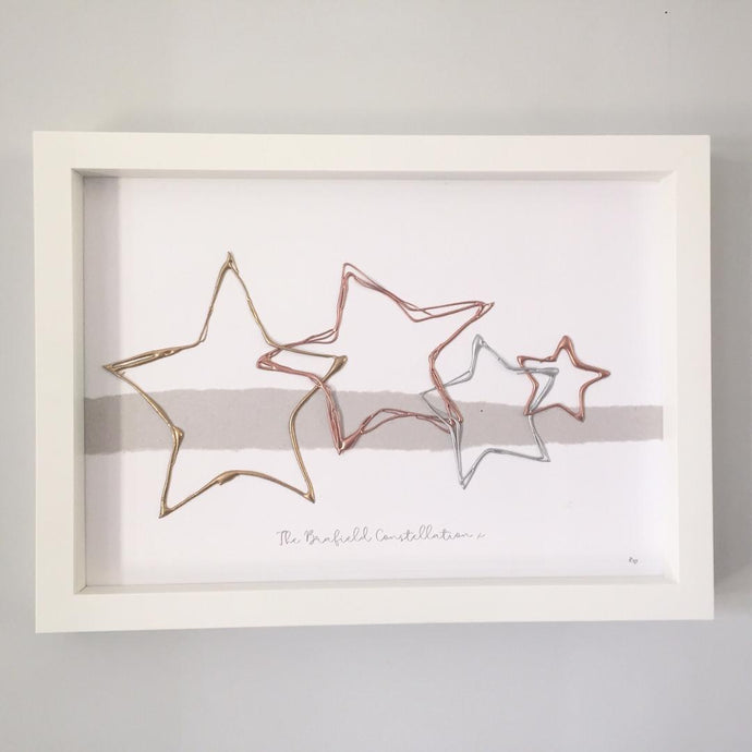 'Family Constellation' Family Star Portrait, 3D Box Frame Personalised Art (Gold, Rose Gold & Silver) www.withcerys.co.uk