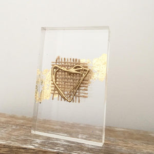 'My Heart' Small Acrylic Keepsake (Gold) www.withcerys.co.uk Unique 3D Gifts Of Art