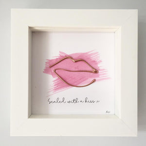 withcerys 'Sealed with a kiss' Lips, 3D Box Frame Personalised Gift (Rose Gold)www.withcerys.co.uk