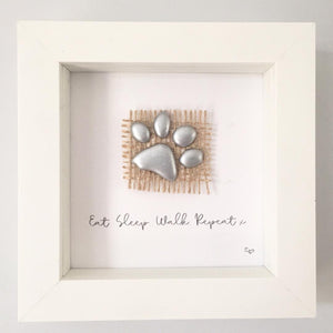 'Eat. Sleep. Walk. Repeat' Paws, Box Frame Personalised Art (Silver) www.withcerys.co.uk Unique 3D Gifts Of Art