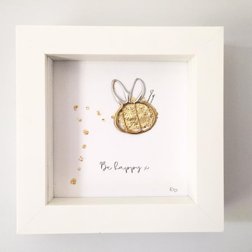 'Be Happy' Bumble Bee 3D Box Frame Personalised Print www.withcerys.co.uk Personalised Wall Art Gifts
