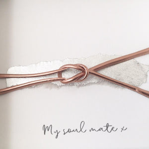 'My soul mate' Friendship Knot (Rose Gold on Silver Leaf) Box Frame Gift. www.withcerys.co.uk