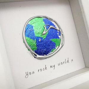 'You rock my world' Earth, 3D Box Frame Personalised Art (Silver) www.withcerys.co.uk Unique Wall Art Gifts