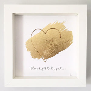 'Sleep tight baby girl' Heart 3D Box Frame Personalised Art (Gold) www.withcerys.co.uk Wall Art Gifts