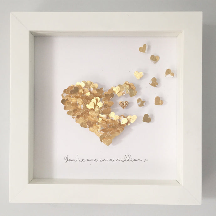 'You're one in a million' Tiny Hearts, Personalised Box Frame (Gold Leaf & Swarovski Crystals) www.withcerys.co.uk Unique 3D Gifts Of Art