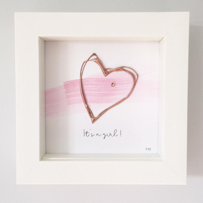 'It's a girl' New Baby, 3D Box Frame Personalised Art (Pink & Rose Gold)