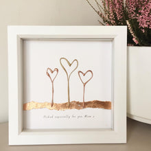 Load image into Gallery viewer, 'Picked especially for you Mum' Heart Flowers, 3D Box Frame Personalised Print (Gold & Rose Gold) www.withcerys.co.uk