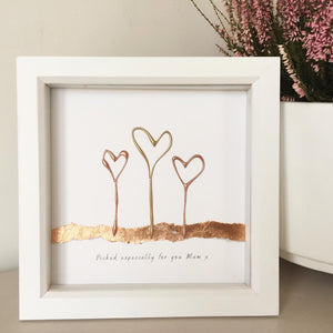 'Picked especially for you Mum' Heart Flowers, 3D Box Frame Personalised Print (Gold & Rose Gold) www.withcerys.co.uk