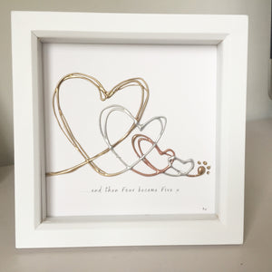 '... and four became five' Family Heart Portrait, 3D Box Frame Personalised Art (Gold, Silver, Rose Gold) www.withcerys.co.uk