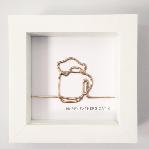 'Happy Fathers Day' Cheers, 3D Box Frame Personalised Art (Gold) www.withcerys.co.uk Unique Wall Art Gifts
