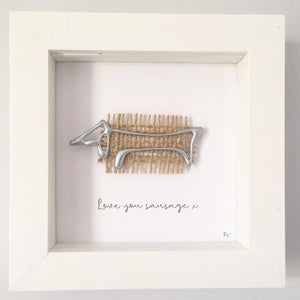 'Love you sausage' Dog, Box Frame Personalised Art (Silver) www.withcerys.co.uk Unique Wall Art Gifts