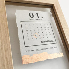 Load image into Gallery viewer, Newborn Date Calendar Floating Wooden Frame Personalised Word Art (Rose Gold) www.withcerys.co.uk Unique Gifts Of Art