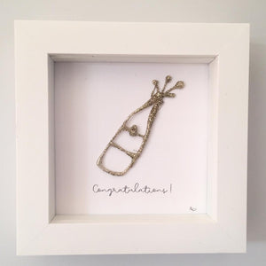 'Congratulations' Champagne Bottle, 3D Box Frame Personalised Art (Sparkly Gold) www.withcerys.co.uk Unique Wall Art Gifts