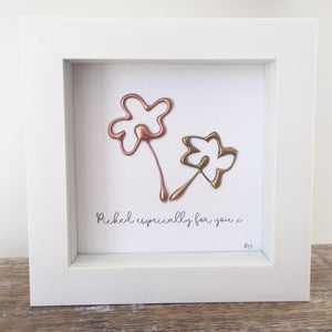 'Picked especially for you' Flowers 3D Box Frame Personalised Print (Gold & Rose Gold) www.withcerys.co.uk Unique Wall Art Gifts