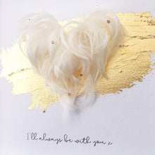 Load image into Gallery viewer, 'I'll always be with you' 3D Box Frame Personalised Feather Art (Gold & Swarovski crystals) www.withcerys.co.uk Personalised Wall Art Gifts