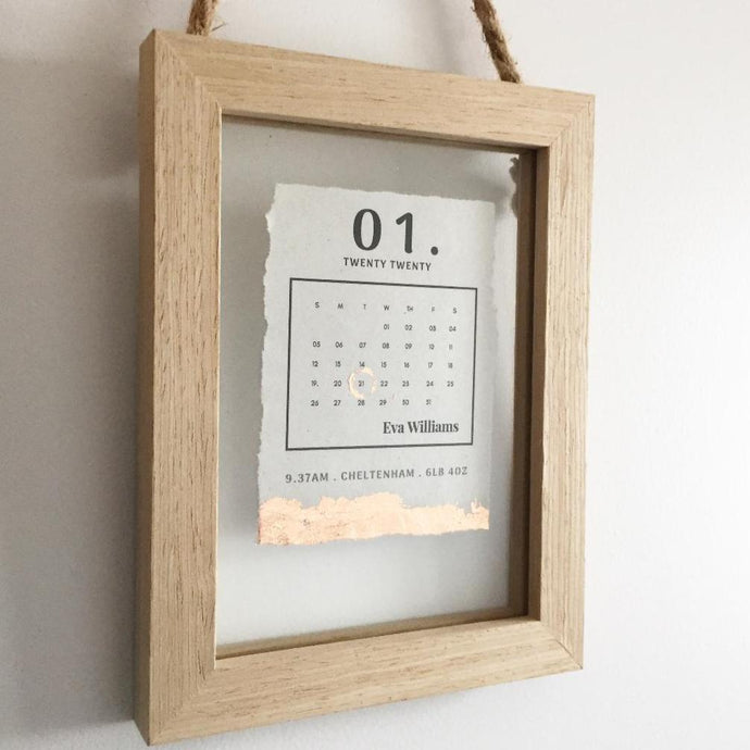 Newborn Date Calendar Floating Wooden Frame Personalised Word Art (Rose Gold) www.withcerys.co.uk Unique Gifts Of Art