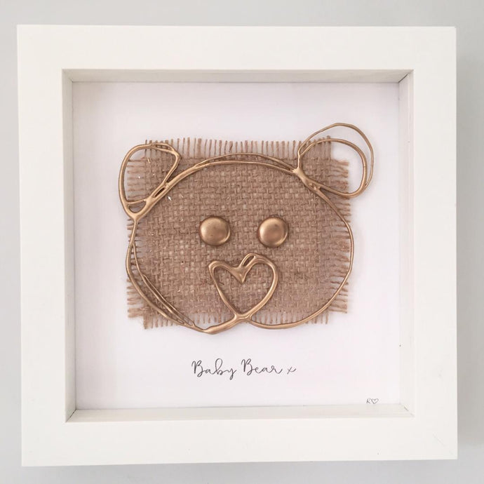 'Baby Bear' 3D Box Frame Personalised Print (Gold) www.withcerys.co.uk Personalised Wall Art Gifts