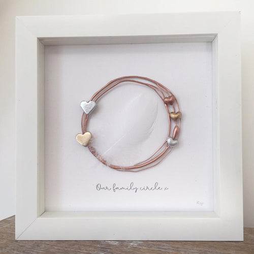 Family Rose Gold Circle / Heart Wall Art Gift. www.withcerys.co.uk