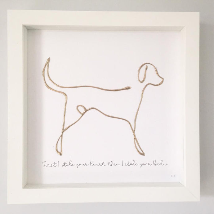 'First I stole your heart, then I stole your bed' Dog Portrait, 3D Box Frame Personalised Art (Gold)  www.withcerys.co.uk Unique Wall Art Gifts