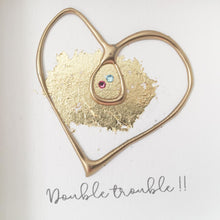 Load image into Gallery viewer, 'Double trouble' Pregnancy Heart, Box Frame Personalised Art (Gold) www.withcerys.co.uk Unique Wall Art Gifts