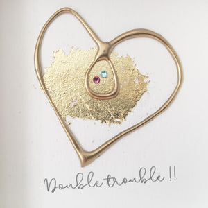 'Double trouble' Pregnancy Heart, Box Frame Personalised Art (Gold) www.withcerys.co.uk Unique Wall Art Gifts