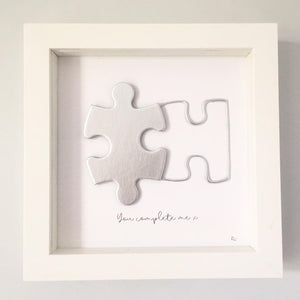'You complete me' Puzzle, Box Frame Personalised Art (Silver) www.withcerys.co.uk Unique 3D Wall Art Gifts