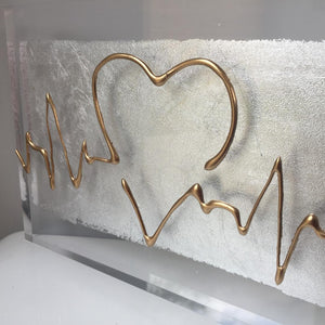 ECG Heatbeat Wave, A5 Clear Acrylic Block. Gold on Silver. www.withcerys.co.uk