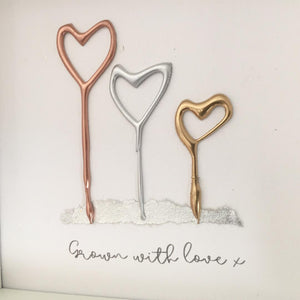 'Grown with love' Heart Flowers, 3D Box Frame Personalised Print (Gold, Rose Gold & Silver) www.withcerys.co.uk